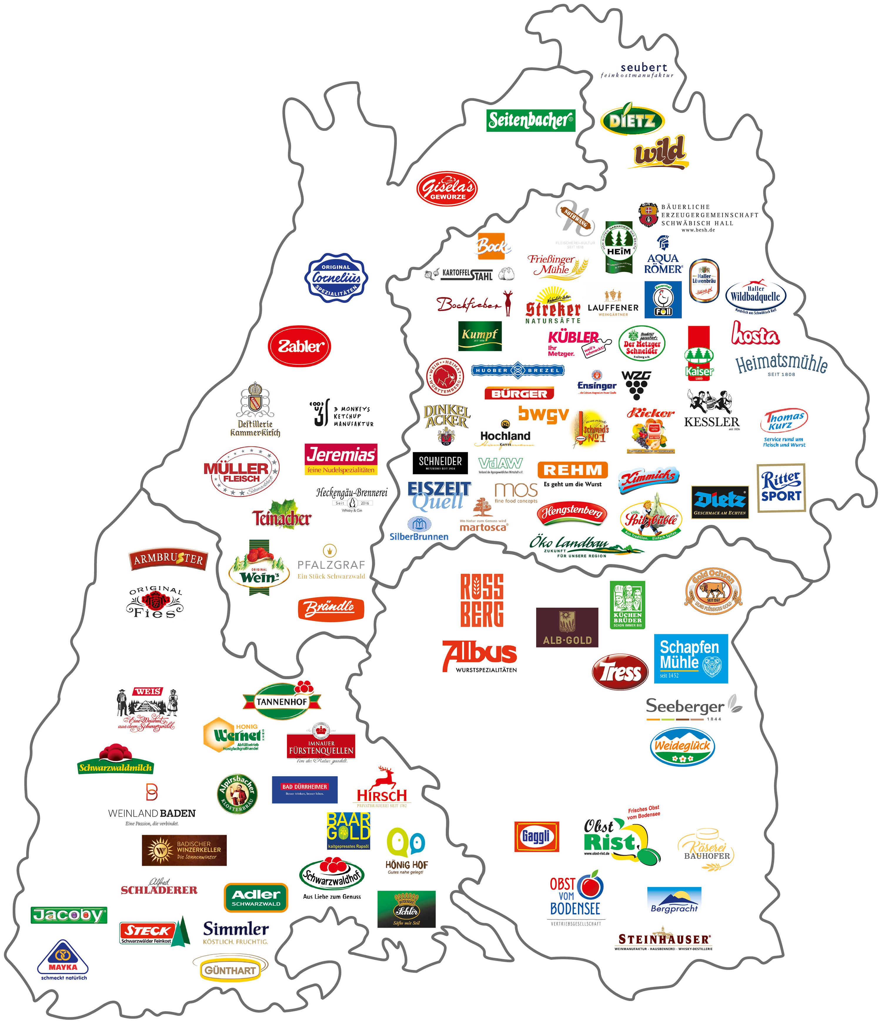 Karte mit starken Marken