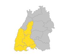 Hochrhein-Bodensee, Nordschwarzwald, Schwarzwald-Baar-Heuberg, Südlicher Oberrhein