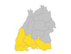Bodensee-Oberschwaben, Hochrhein-Bodensee, Schwarzwald-Baar-Heuberg, Südlicher Oberrhein