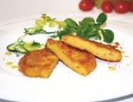 Allgäuer Bergkäseküchle mit Gurkensalat und Joghurtdressing