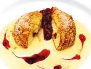 Kartäuserklöße mit Vanillesoße und Kirschmarmelade