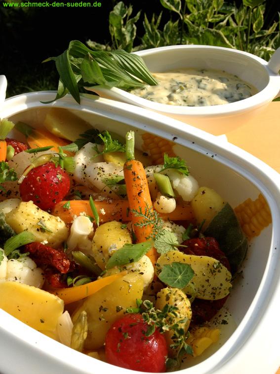 Gemüseallerlei mit Kräuterdipp