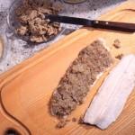 Forellenfilet mit Grünkern-Senf-Paste überbacken (vom Bioland Restaurant Rose)