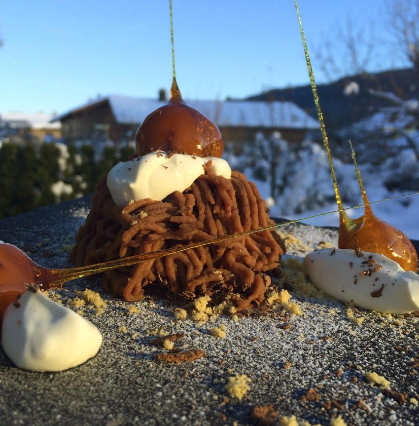 Süße Kastanienspaghetti mit Schwarzwälder Kirschwasser