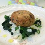 Edel-Fischküchle mit Spinat in Rieslingcreme
