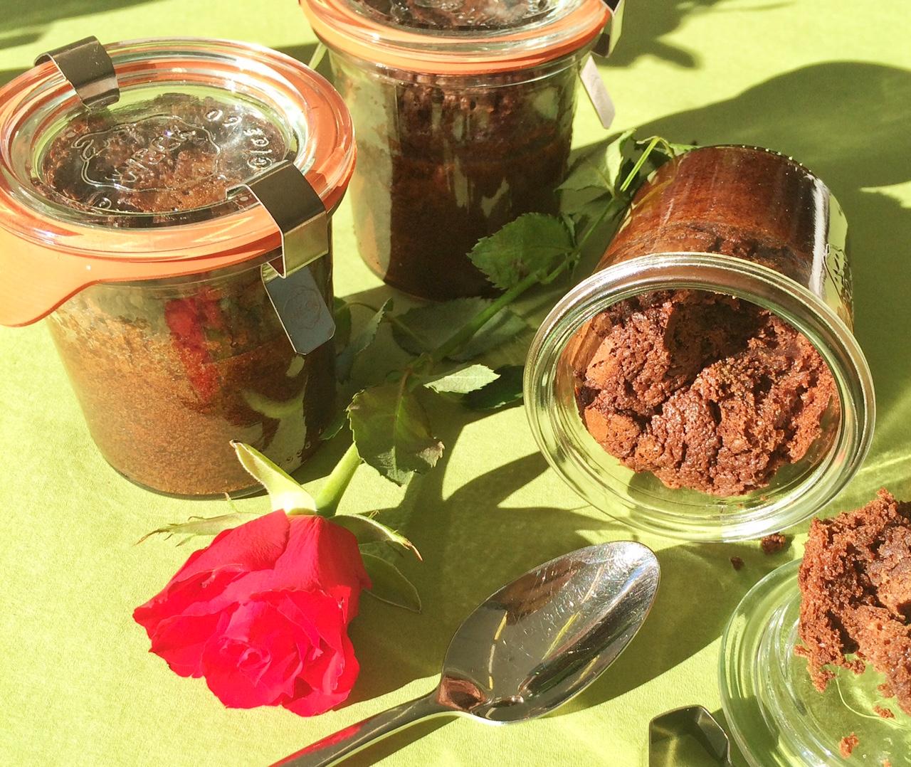 Schoko-Rotweinkuchen im Weckglas