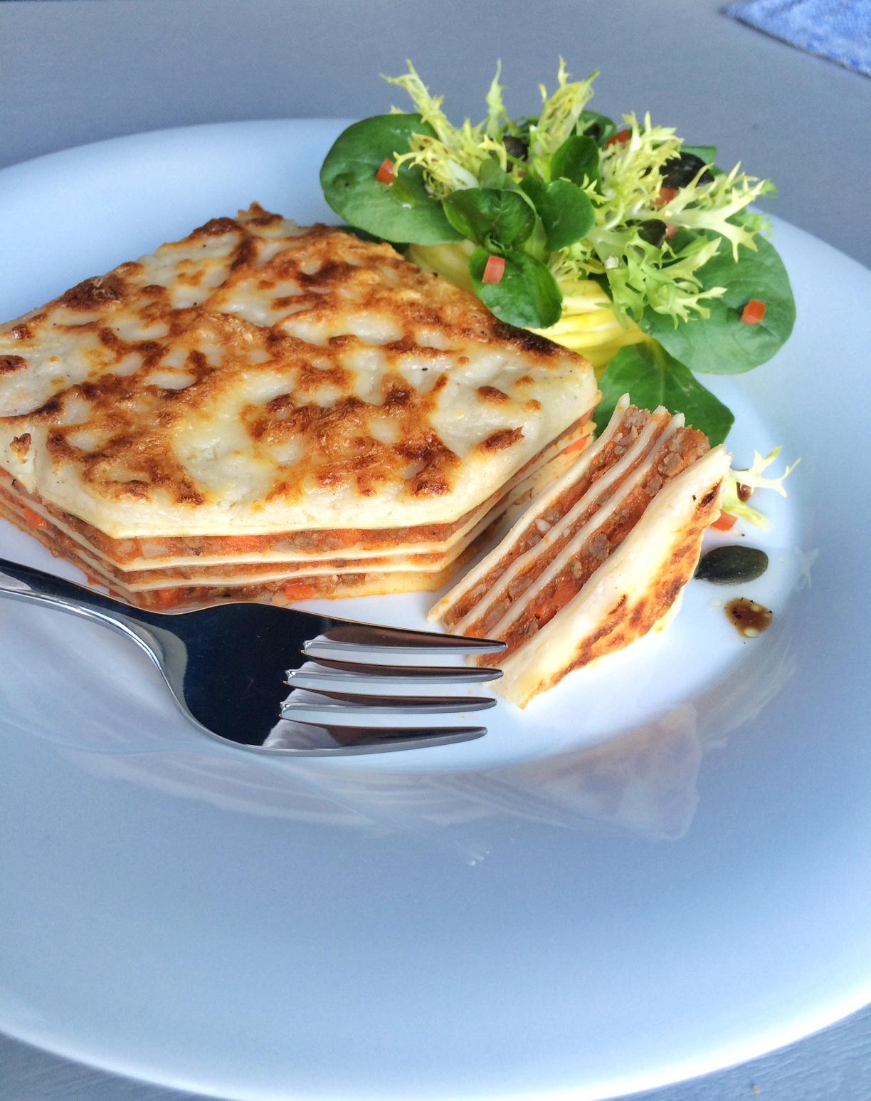 Kürbis-Bohnen Lasagne mit Allgäuer Emmentaler