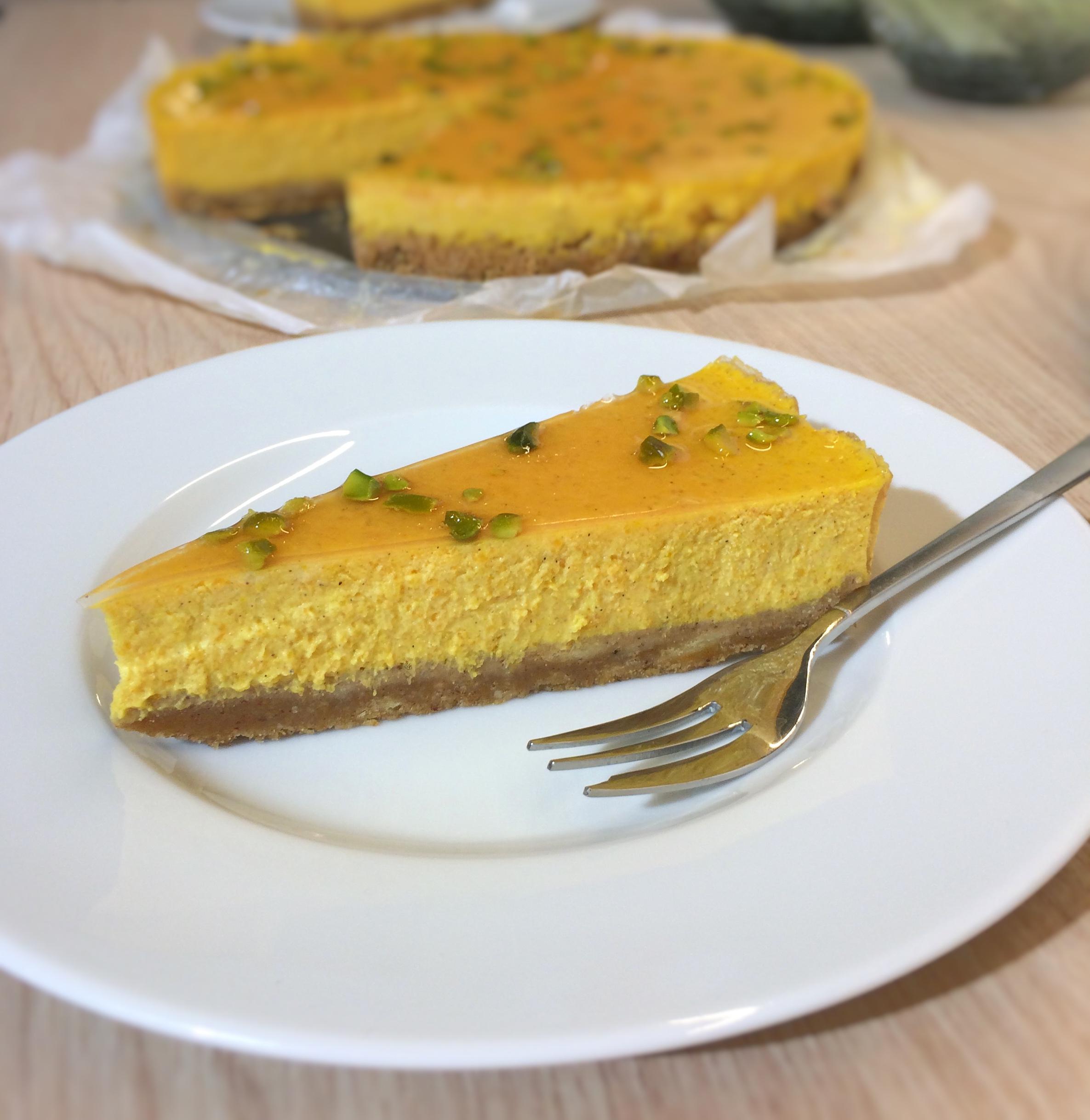 Butternut-Käsekuchen mit Quittengelee