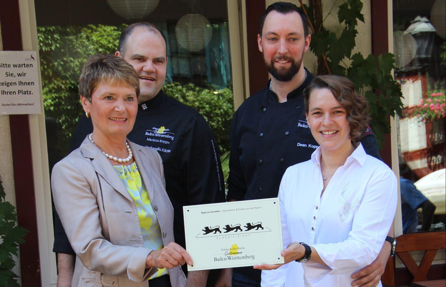 Bild 3- Löwen- Auszeichnung für das Café Restaurant Hirsch in Besigheim
